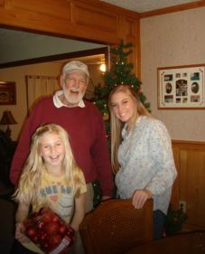 My girls helped their grandparents put up Christmas decorations.
